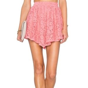 NBD | Revolve Make Me Blush Lace Mini Skirt